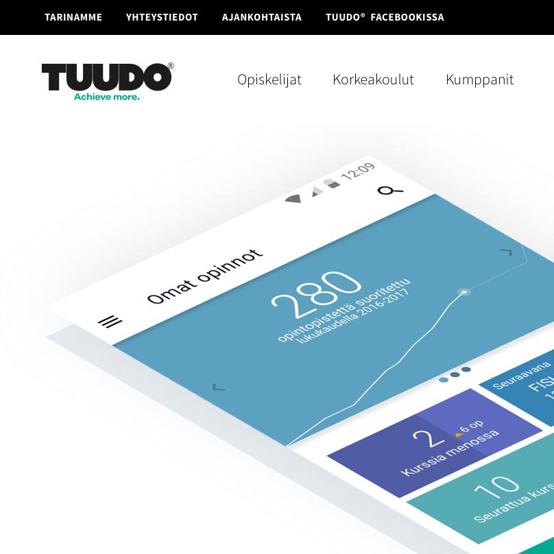 Tuudo® -mobiilisovelluksen Websivun ulkoasu (2017)