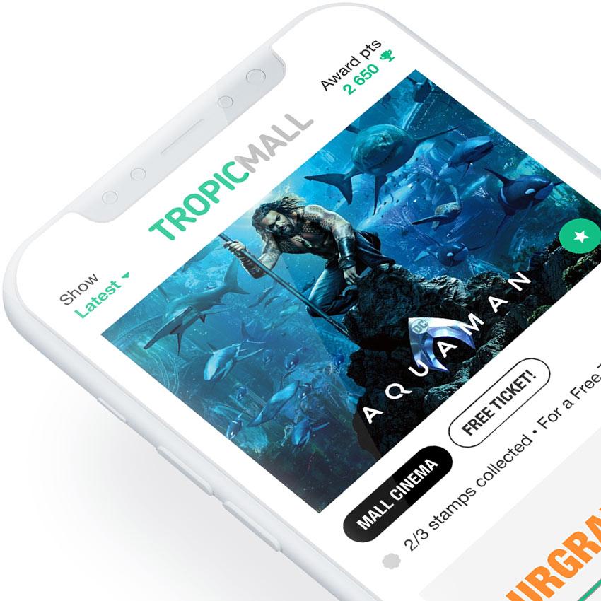 TropicMall: Kauppakeskus sovelluskonseptin UI/UX ja prototyyppi (2017)
