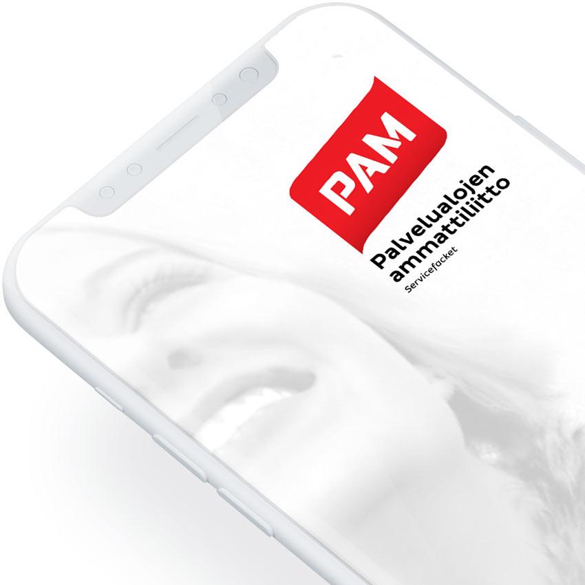 PAM Palvelualojen ammattiliitto UI/UX ja prototyyppi (2018)